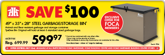 Home Hardware ad Bear Bins