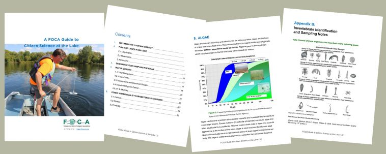 image depicting sample pages from FOCA's Citizen Science Guide